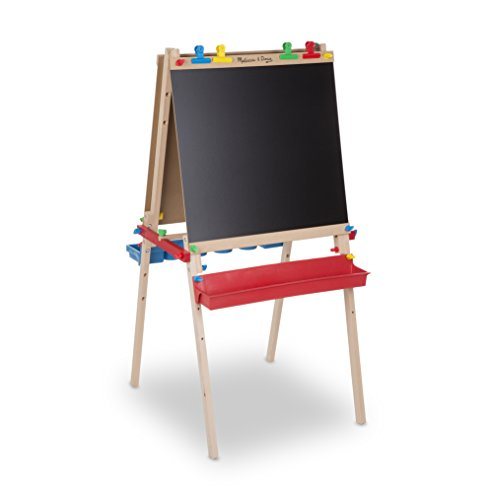 Melissa & Doug Deluxe Standing Art Easel – Dry-Erase Board, Chalkboard, Paper Roller