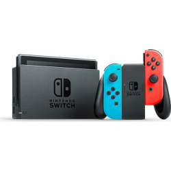 nintendo switch with neon blue and neon red joy con -