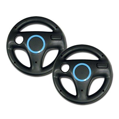 zettaguard mario kart racing wheel for nintendo wii 2 sets black color bundle -