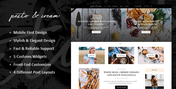 pestocream simple blog wordpress theme -