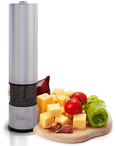 Eukein Electric Pepper Grinder or Salt Grinder Mill Battery Operated with Light At Bottom