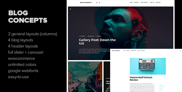 Blog Concepts – Minimalist WordPress Theme for your Blog / Magazine Website