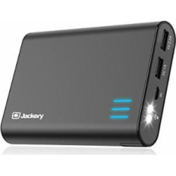 Portable External Charger Jackery Giant+ 12000mAh Dual USB Output Battery Pack Travel Backup Power Bank with Emergency LED Flashlight for iPhone, Samsung and Other Smart Devices – Black