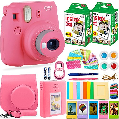 FujiFilm Instax Mini 9 Instant Camera + Fuji Instax Film (40 Sheets) + Accessories Bundle – Carrying Case, Color Filters, Photo Album, Stickers, Selfie Lens + MORE (Flamingo Pink)