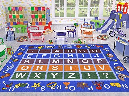 "Ottomanson Jenny Collection Light Blue Frame with Multi Colors Kids Children's Educational Alphabet (Non-Slip) Area Rug, Blue, 8'2″ x 9'10"""
