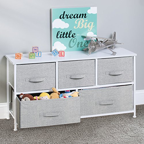 mDesign Fabric 5-Drawer Nursery Storage Organizer Unit to Hold Baby Clothes, Stuffed Animals, Diapers – Gray