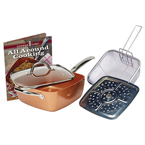 Copper Chef 4 PC 9.5″ Deep Square Pan Set, 6-In 1- Chef Pan with 4 Utensils
