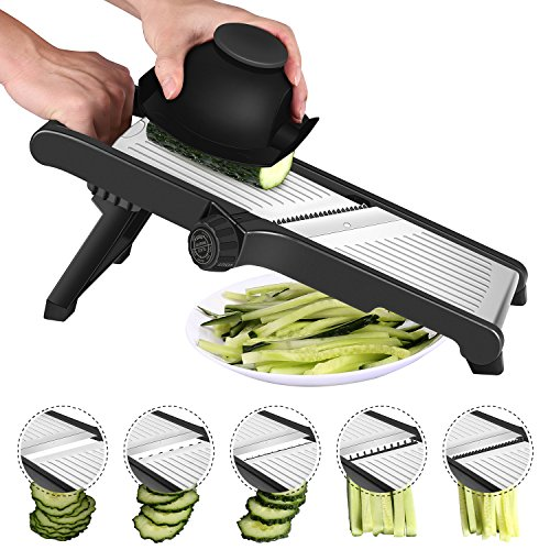 Stainless Steel Mandoline Slicer Adjustable Kitchen Food Mandolin Vegetable Julienne Slicer for Fruits and Vegetables From Paper-Thin to 9mm with 6 Stainless Steel Blades by CaCook – Black