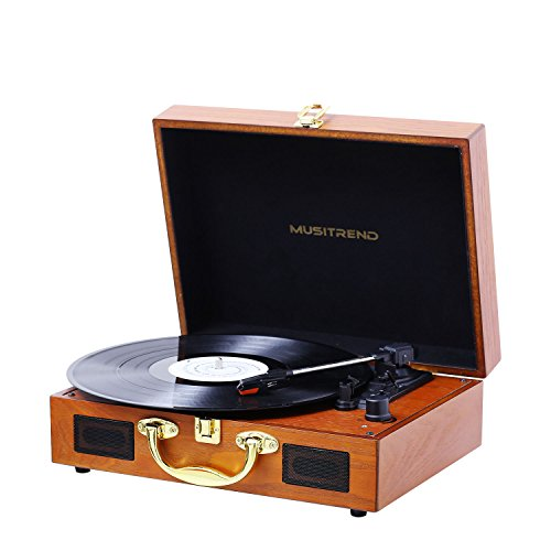 Musitrend Turntable Portable Suitcase Record Player with Built-in Speakers, PC Recorder, Headphone Jack, RCA line out – Wood