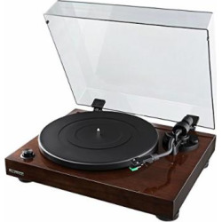 Fluance High Fidelity Vinyl Turntable Record Player with Dual Magnet Cartridge, Elliptical Diamond Stylus, Belt Drive, Built-in Preamp, Adjustable Counterweight & Anti-Skating, Solid Wood Cabinet RT81