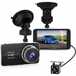 4.0″ Car Dash Cam, Full HD 1080P Dash Camera, Front + VGA Rear 290 Degree Super Wide Angle Dashboard Camera with G-Sensor, Loop Recording, Parking Monitoring, Motion Detection etc