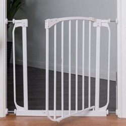 Costzon Baby Safety Gate, Fits Spaces Between 28.5″ to 32.8″ Wide, Easy Close Walk Through Gate, White