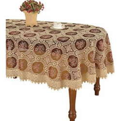 Simhomsen Vintage Burgundy Lace Tablecloth Oval Embroidered Table Linen (oval 60 By 84 inch)