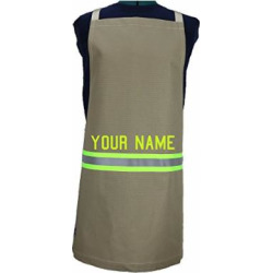 personalized firefighter cooking apron tan with yellow reflective -