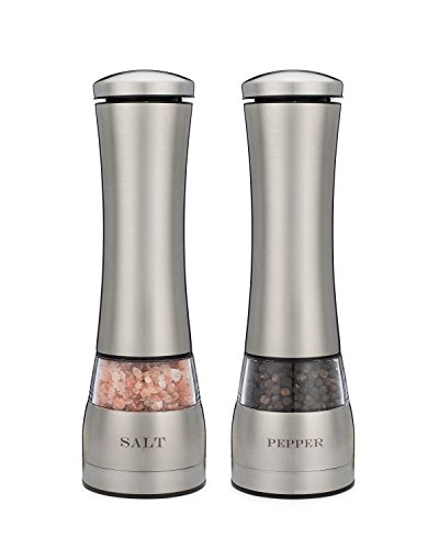 electric salt and pepper grinder set of two attractive laser engraved 13 -