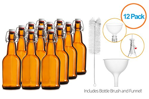 Chef's Star CASE OF 12 – 16 oz. EASY CAP Beer Bottles with Funnel and Cleaning Brush – AMBER