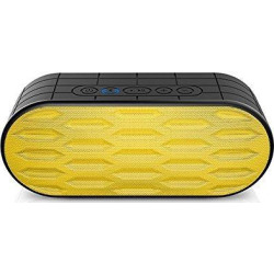 itgut diamond waterproof ipx5 wireless bluetooth speakers, outdoor sport and shower portable speaker with rich bass, dual-driver, built in microphone (yellow)