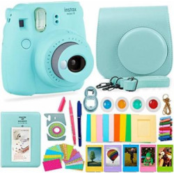 FujiFilm Instax Mini 9 Camera and Accessories Bundle – Instant Camera, Carrying Case, Color Filters, Photo Album, Stickers, Selfie Lens + MORE (Ice Blue)