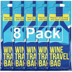 Wine Travel Bag – 8 Pack – Safe Wine Bottle Protector, Reusable, Leak Proof With Thick Padded Material Inside to Protect your Wine. 2 x Zip Locks to Avoid Spills. Pack in Luggage & Suitcase.
