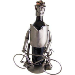 Bicyclist, Male, Wine Bottle Holder or Stand from H&K Steel Sculptures 6154-LI