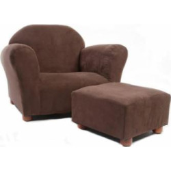Keet Roundy Children's Chair Microsuede Brown with ottoman