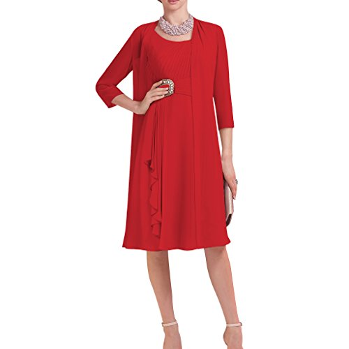 Dressyu Short 3/4 Sleeve 2 pcs Beaded Chiffon Bridal Mother Dress with Jacket Red US18W