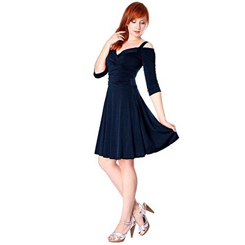 Evanese Women's Elegant Slip On Short Elegant Cocktail Dress with 3/4 Sleeves M, Navy