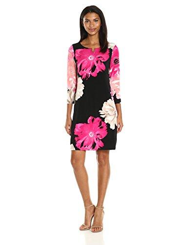 Calvin Klein Women's 3/4 Sleeve Printed Dress With U Hardware, Black/Rose Combo, S