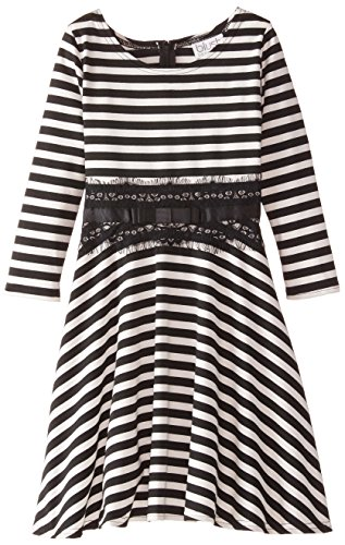 Blush by Us Angels Big Girls' 3/4 Sleeve Fit and Flare Dress, Black/Ivory, 8