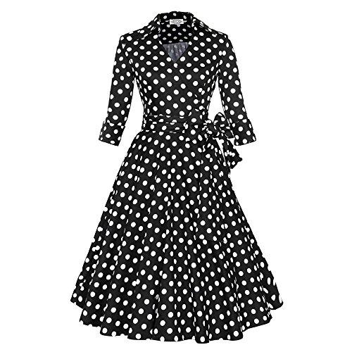 VOBAGA Women's 3/4 Sleeve V Neck Hepburn Style Waist Rockabilly Swing Retro Dress Black/White Dot XXL