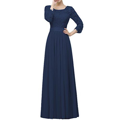 Dressyu Women's Elegant 3/4 Sleeve Lace Chiffon Evening Prom Dress formal Gowns Navy Blue US26W