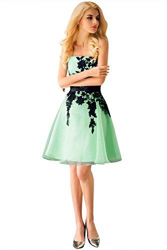 Huifany Women's Black Applique Knee-Length One Shoulder A-Line Short Party Cocktail Dresses Mint Green,US8