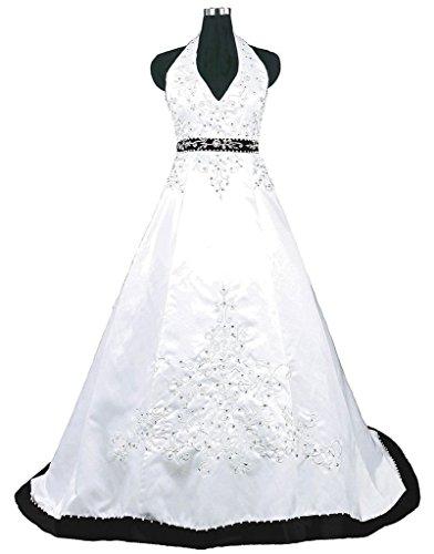 Snowskite Halter Embroidery Satin Wedding Bridal Dress 20 Black&White