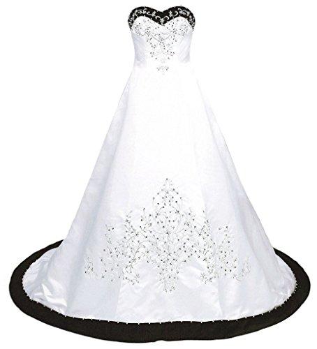 Snowskite Women's Sweetheart Embroidery Satin Beading Wedding Dress 20 White&Black