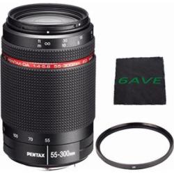 Pentax HD Pentax-DA 55-300mm f/4-5.8 ED WR Lens + UV Filter + MicroFiber Cloth 6AVE Bundle