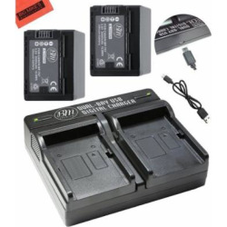 BM Premium 2 BP-727 Batteries and Dual Charger for Canon Vixia HF R70, HF R72, HFR 700, HFM50, HFM52, HFM500, HFR30, HFR32, HFR300, HFR40, HFR42, HFR400, HFR50, HFR52, HFR500, HFR60, HFR62, HFR600