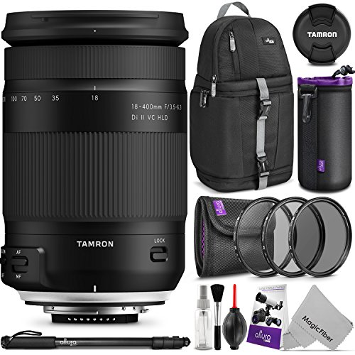 Tamron 18-400mm f/3.5-6.3 Di II VC HLD Lens for CANON EF w/Advanced Photo and Travel Bundle