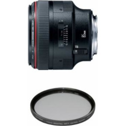 Canon EF 85mm f1.2L II USM Lens for Canon DSLR Cameras – Fixed Filter Bundle