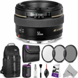 Canon EF 50mm f/1.4 USM Standard Telephoto Lens w/ Advanced Bundle – Includes: Sling Backpack, Altura Photo UV-CPL-ND4, Neoprene Lens Pouch, Memory Card Case, Camera Cleaning Set