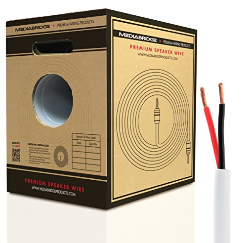 Mediabridge 14AWG Speaker Wire w/ Pull-Out Box (500, FT White) – 99.9% Oxygen Free Copper – CL2 for In-Wall (SW-14X2-500-WH)