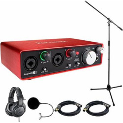 Focusrite Scarlett 2i2 USB Audio Interface (2nd Generation) With Pro Tools includes Bonus Audio-Technica Professional Monitor Headphones and More