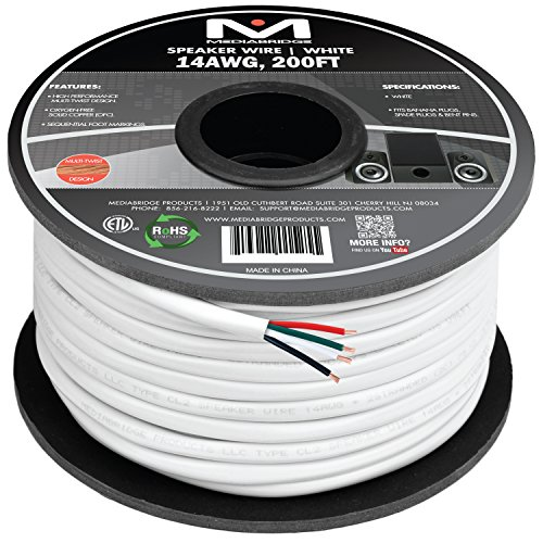 Mediabridge 14AWG 4-Conductor Speaker Wire (200 Feet, White) – 99.9% Oxygen Free Copper – ETL Listed & CL2 Rated for In-Wall Use (Part# SW-14X4-200-WH )