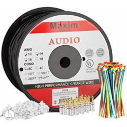 Maximm Outdoor Speaker Wire – 500 Feet – 12AWG CL3 Rated 2-Conductor Wire – Black , Pure Copper – Banana plugs, Cable clips and ties Included