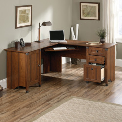 Carson Forge Corner Computer Desk, Brown