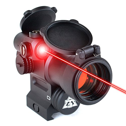 AT3 LEOS Red Dot Sight with Integrated Laser & Riser – 2 MOA Red Dot Scope with Flip Up Lens Caps