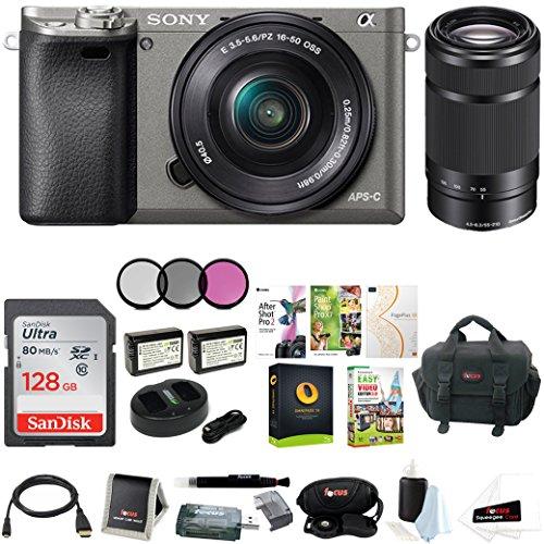 Sony Alpha a6000 Camera w/Lens, Accessory, and Software Bundle (Dual Lens)