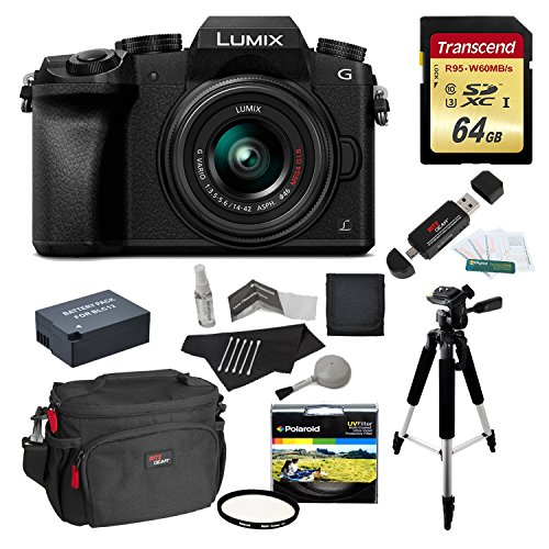 Panasonic DMC-G7KK Digital Single Lens Mirrorless Camera 14-42 mm Lens Kit, 4K + Starter Bundle + Transcend 64 GB High Speed 10 UHS3 + Polaroid 57″ Tripod + Polaroid 46mm UV Filter + Battery + Bag