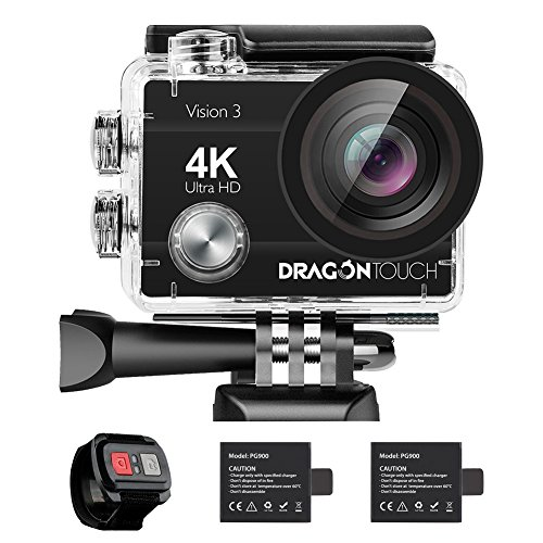 Dragon Touch 4K Action Camera 16MP Sony Sensor Vision 3 Underwater Waterproof Camera 170° Wide Angle WiFi Sports Cam with Remote 2 Batteries and Mounting Accessories Kit