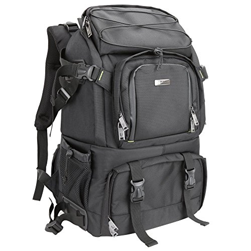 Evecase Extra Large DSLR Camera / 15.6 inch Laptop Travel Daypack Backpack Accessories Lens Gadget Bag with Rain Cover – Black