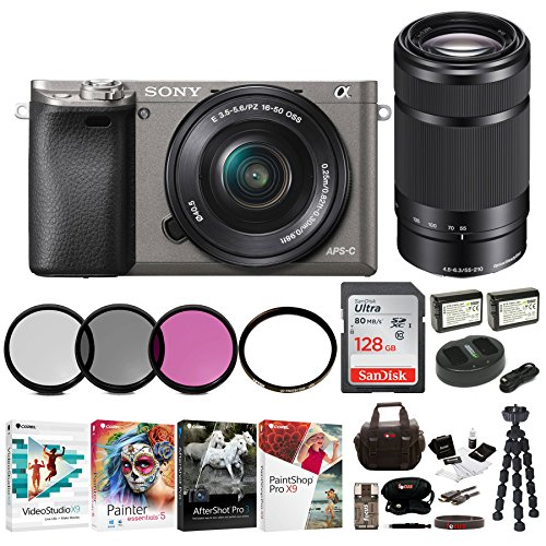 Sony Alpha a6000 Mirrorless Camera w/16-50mm & 55-210mm Lenses & 128GB Bundle (Graphite)